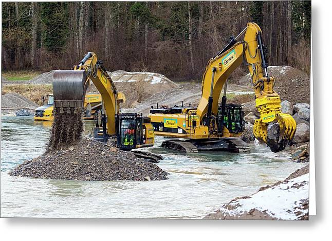 Excavators In Thur River Greeting Card by Dr Juerg Alean