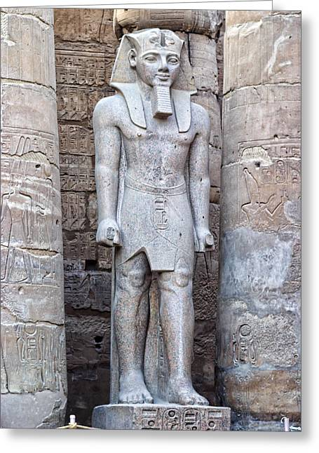 Excellant Standing Pharaoh Sculpture Greeting Card