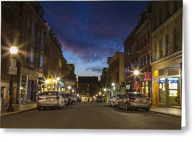 Exchange Street Portland Maine Greeting Card
