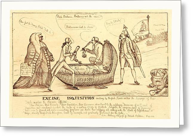 Excise Inquisition Erecting By English Slaves Greeting Card by English School