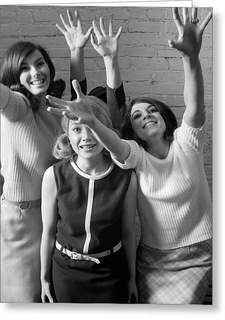 Excited Teenage Girls, C.1960-70s Greeting Card