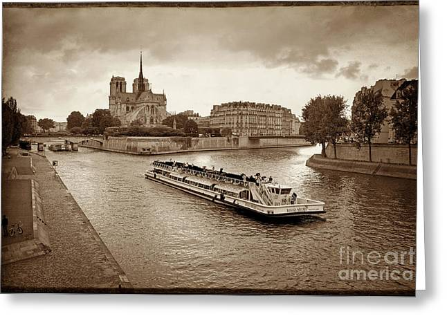 Excursion Boat On The Seine.paris Greeting Card by Bernard Jaubert