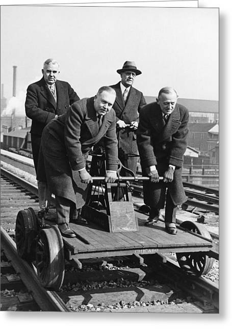 Executives Commute By Handcar Greeting Card by Underwood Archives