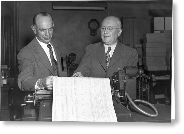 Executives Viewing Data Sheets Greeting Card by Underwood Archives