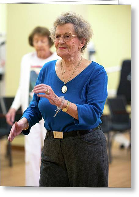 Exercise Class For Active Elderly Greeting Card