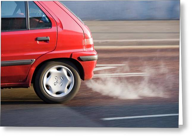 Exhaust Fumes From A Car Exhaust Greeting Card