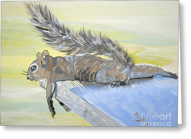 Exhausted Little Nevada Squirrel Greeting Card by Phyllis Kaltenbach