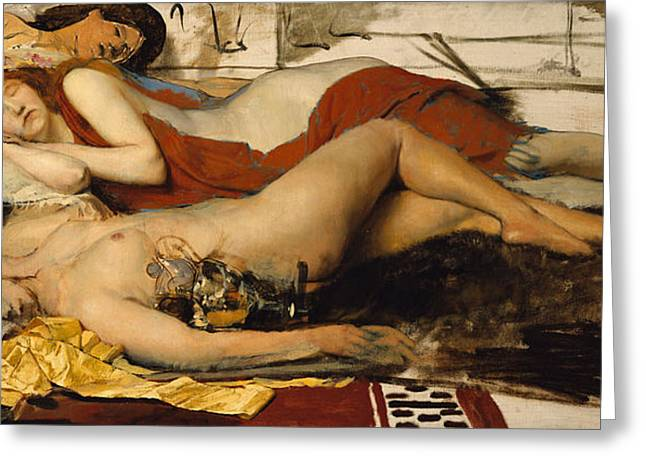 Exhausted Maenides Greeting Card by Sir Lawrence Alma Tadema