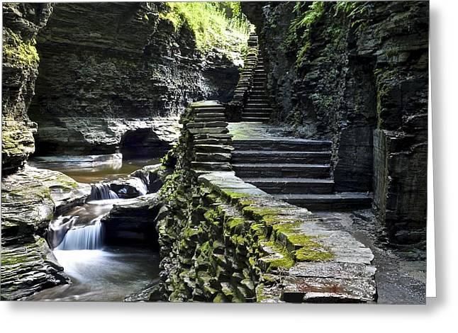 Exiting Watkins Glen Gorge Greeting Card by Frozen in Time Fine Art Photography
