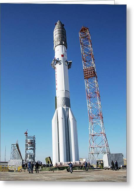 Exomars Launch Preparations Greeting Card by European Space Agency/b. Bethge