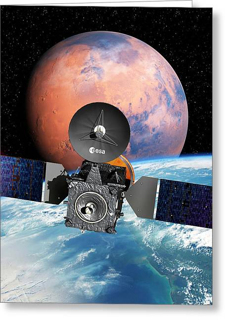 Exomars Spacecraft With Earth And Mars Greeting Card by European Space Agency/d. Ducros
