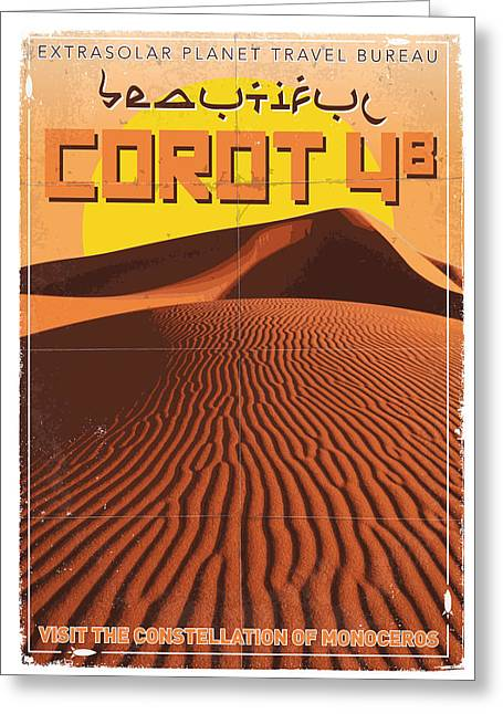 Exoplanet 05 Travel Poster Corot 4 Greeting Card