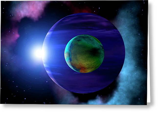 Exoplanet And Moon Greeting Card by Mark Paternostro