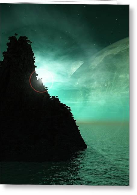 Exoplanet Landscape Greeting Card by Mikkel Juul Jensen