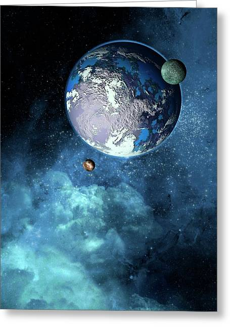 Exoplanet Greeting Card by Victor Habbick Visions
