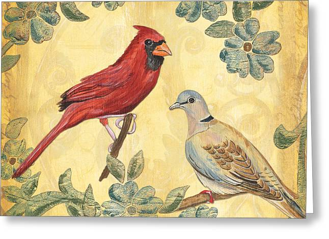 Exotic Bird Floral And Vine 2 Greeting Card by Debbie DeWitt