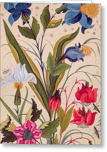 Exotic Flowers With Insects Greeting Card by Mughal School