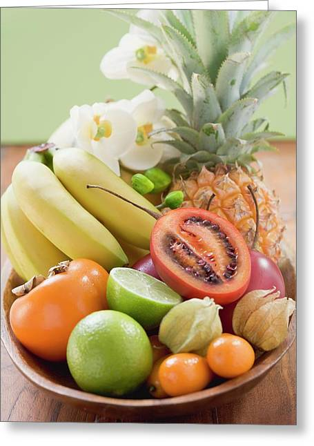 Exotic Fruit, Citrus Fruit And Orchids In Wooden Bowl Greeting Card