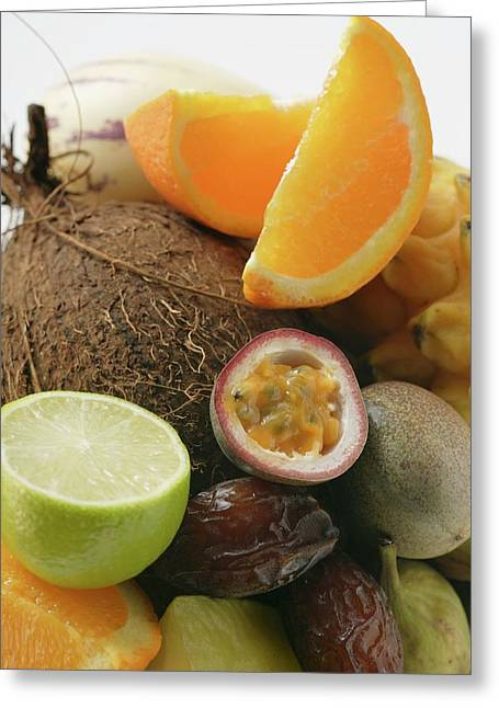 Exotic Fruit Still Life With Coconut Greeting Card