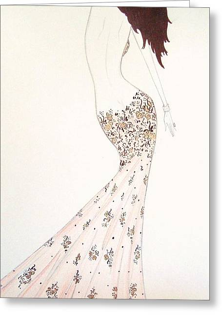 Exotic Lilies Gown Greeting Card by Christine Corretti