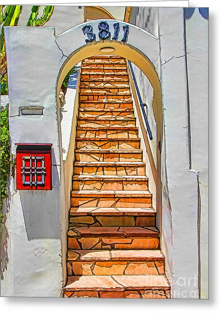 Exotic Stairs Greeting Card by Mariola Bitner