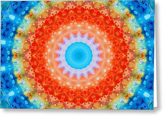 Expanding Energy 1 - Mandala Art By Sharon Cummings Greeting Card by Sharon Cummings