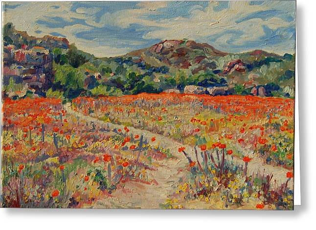 Greeting Card featuring the painting Expanse Of Orange Desert Flowers With Hills by Thomas Bertram POOLE