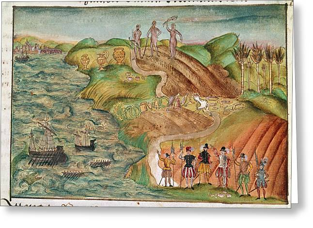 Expedition Lands In Venezuela Greeting Card by British Library