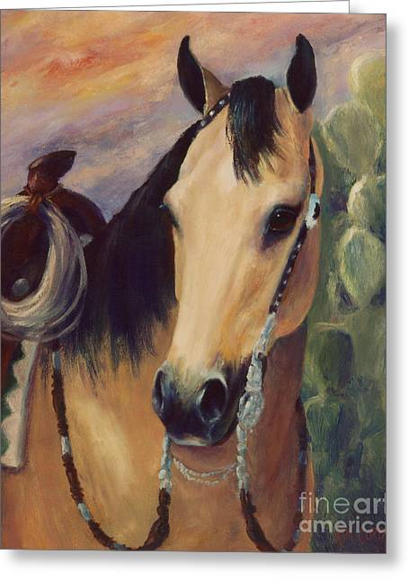 Quarter Horses Greeting Cards - Expensive Hobby Horse Portrait Painting Greeting Card by Kim Corpany