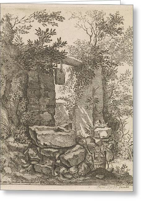 Expired Stone Gate In A Landscape, Jacob Lutma Greeting Card