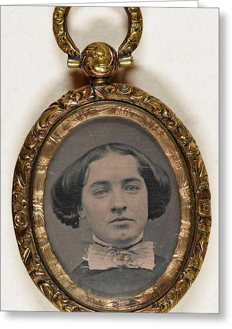 Explanatory Pendant With Portraits Of A Woman Greeting Card