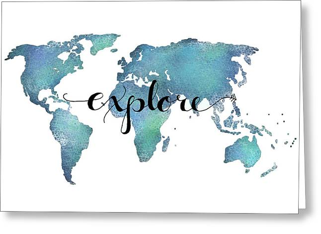 Explore Map Art- Aqua Greeting Card by Michelle Eshleman
