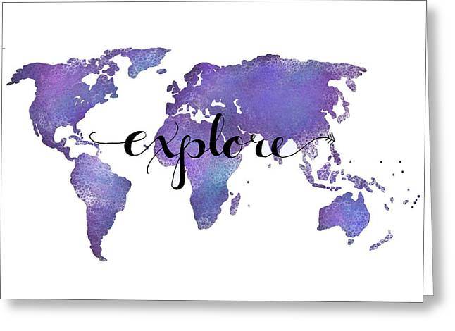 Explore World Map Painting Greeting Card