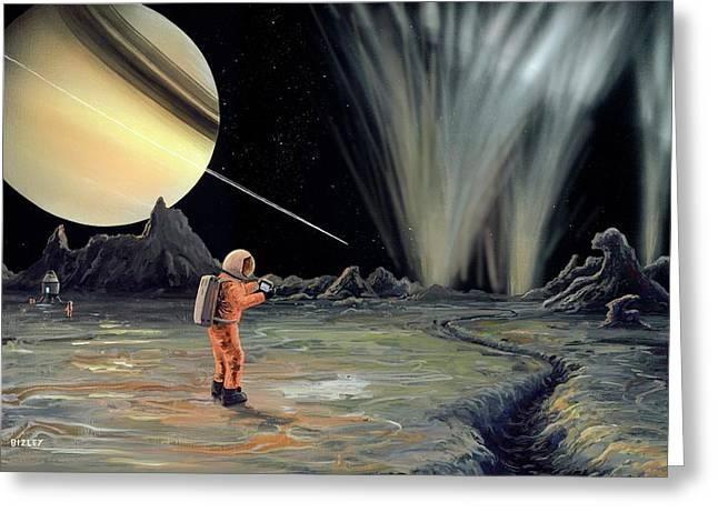 Exploring Enceladus Greeting Card by Richard Bizley
