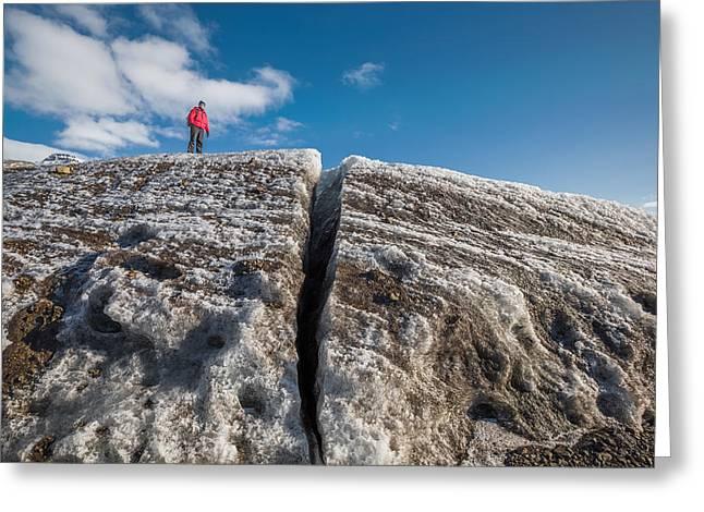 Exploring Svinafellsjokull Glacier Greeting Card by Panoramic Images