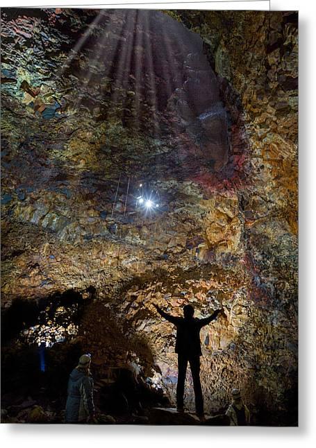 Exploring Thrihnukagigur Three Peaks Greeting Card by Panoramic Images
