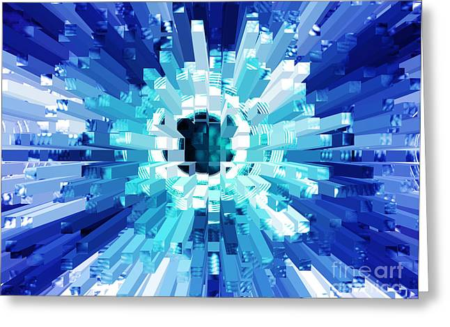 Explosion Abstract Blue Turquoise Greeting Card by Natalie Kinnear