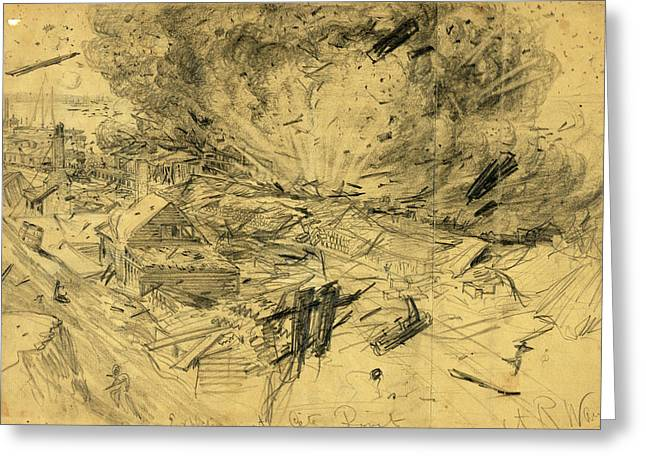 Explosion At City Point, 1864 August 9, Drawing On Tan Greeting Card