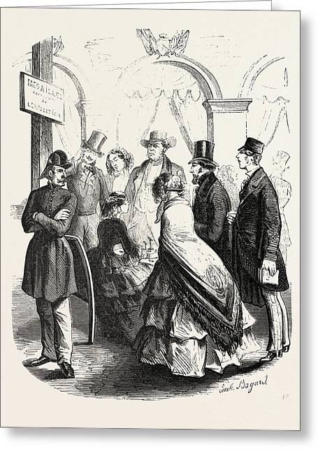 Expo 1855. Sellers Of Medals.paris, France Greeting Card by French School