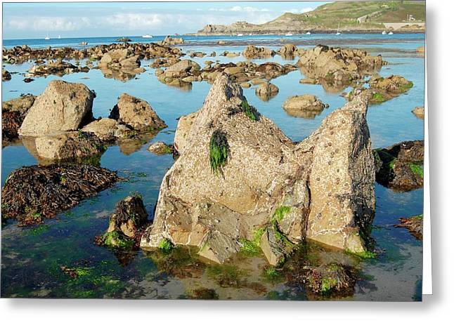 Exposed Rocks And Tidal Pools Greeting Card