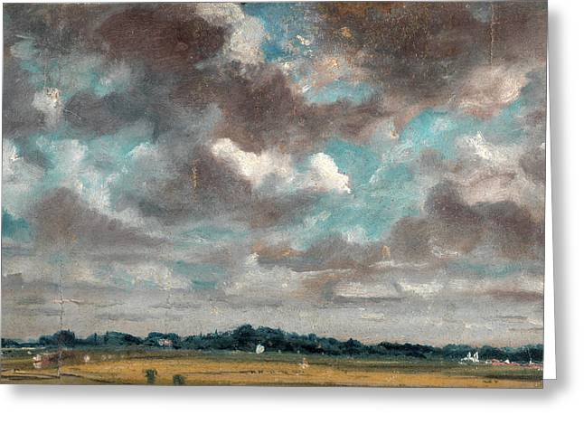 Extensive Landscape With Grey Clouds Study Of Clouds Greeting Card by Litz Collection