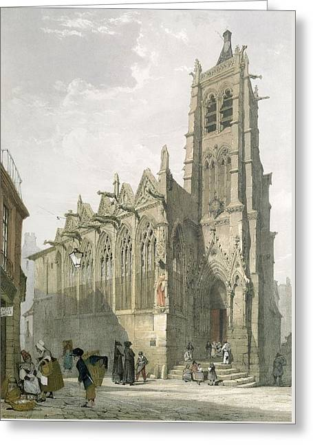 Exterior Of The Church Of St. Severin, Paris Greeting Card by Thomas Shotter Boys