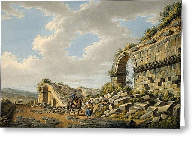 Exterior Of The Ruined Roman Theatre Greeting Card by Gaetano Mercati