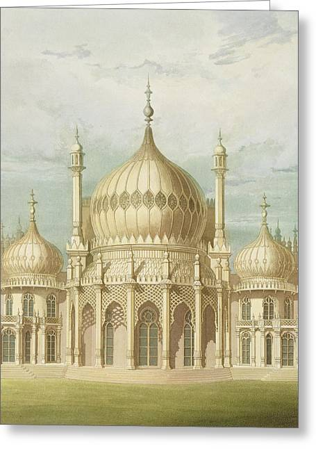 Exterior Of The Saloon From Views Of The Royal Pavilion Greeting Card