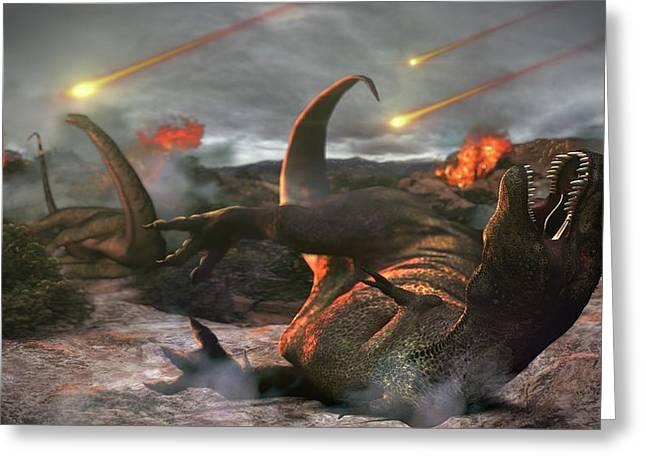 Extinction Of The Dinosaurs Greeting Card by Karsten Schneider