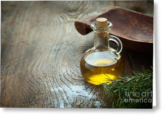 Extra Virgin Olive Oil  Greeting Card by Mythja  Photography
