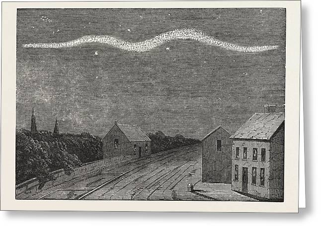 Extraordinary Meteor Seen Over Dublin, On The Night Greeting Card by English School