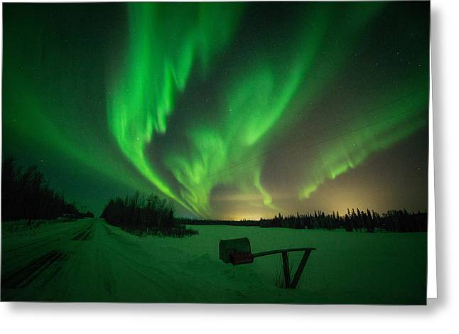 Extreme Aurora Activity Salcha Greeting Card