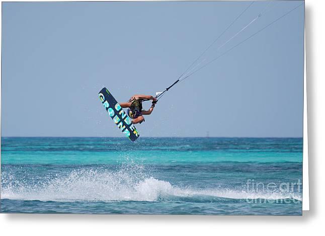 Extreme Kitesurfing Greeting Card by DejaVu Designs