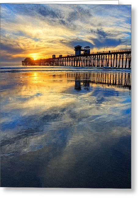 Extreme Low Tide Reflections  Greeting Card by Donna Pagakis